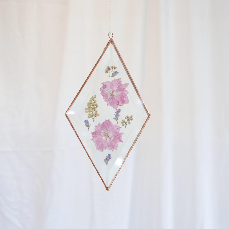 Image of Pressed Flower Suncatcher Larkspur and Wattle