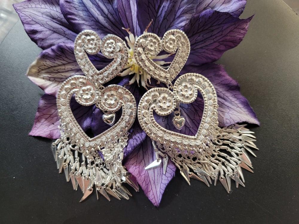 Embossed Heart Chandelier Earrings