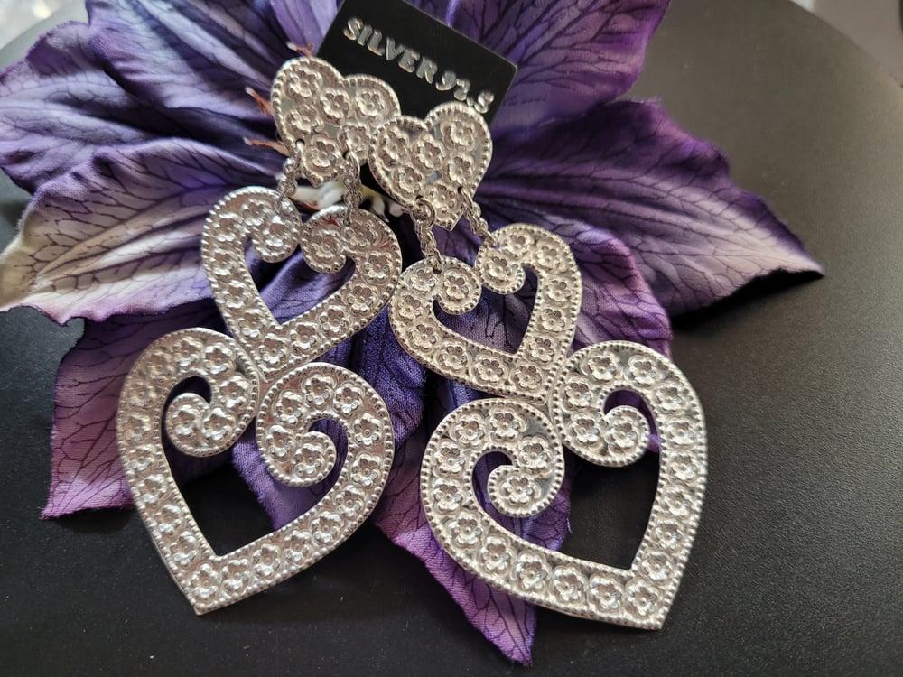 Embossed Double Heart Earrings
