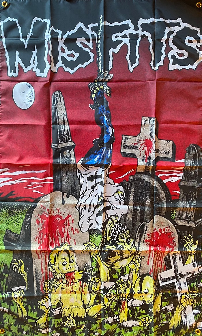 """Image of Misfits """"  Hanging with Cannibal Babies  """"   Flag / Banner / Tapesry"""