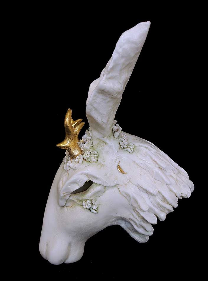 Image of JENNIE McCALL - PORCELAIN HARE SCULPTURE WITH ANTLERS