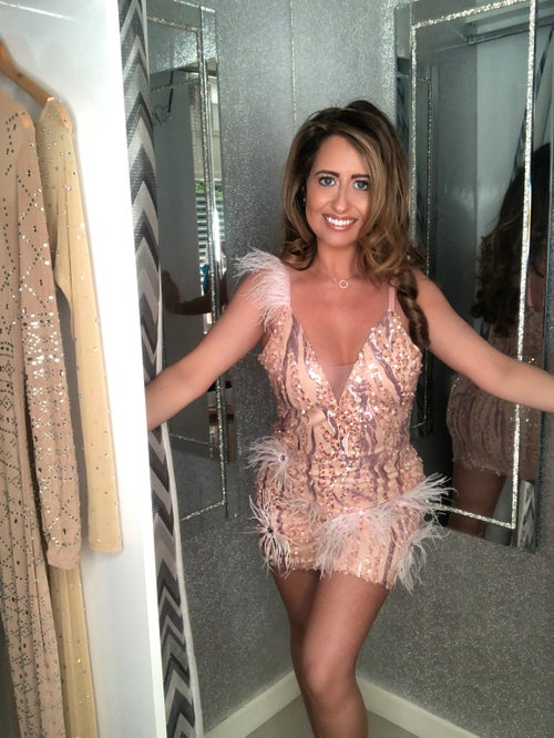 Image of Blush Sequin Feather Dress