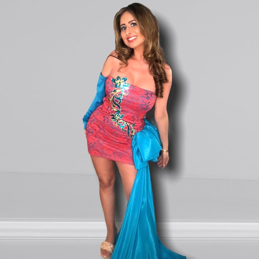 Image of Blue Coral Bustle Sash Dress