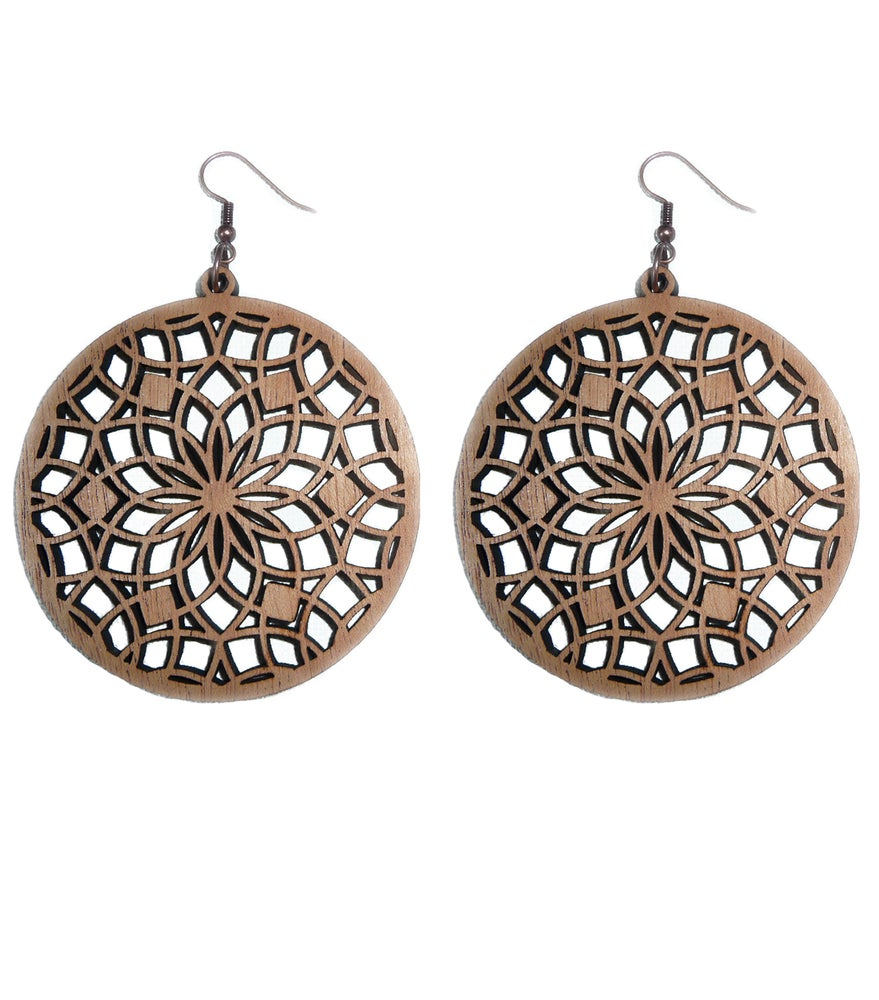 Image of MAHOGANY WOOD LASER CUT EARRINGS WOOD AND COPPER SACRED FLOWER