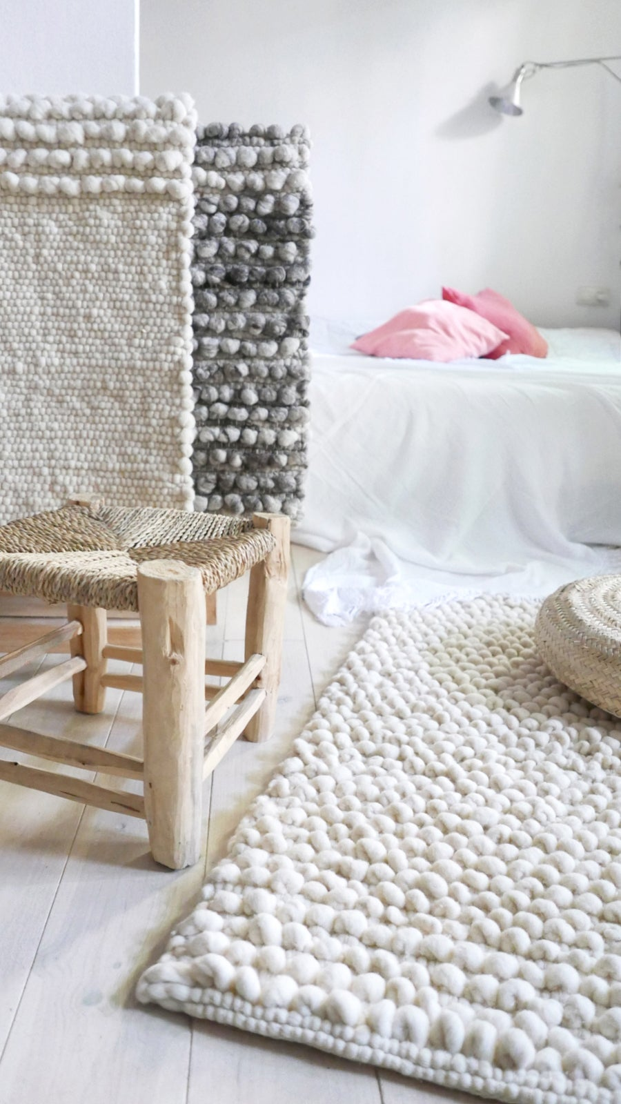 Image of Handwoven Wool Rug Ecru - Natural color undyed wool