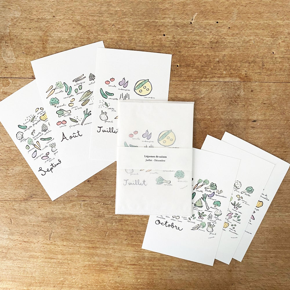 "Image of Set of 6 postcards ""Seasonal Vegetables"" / July - December"