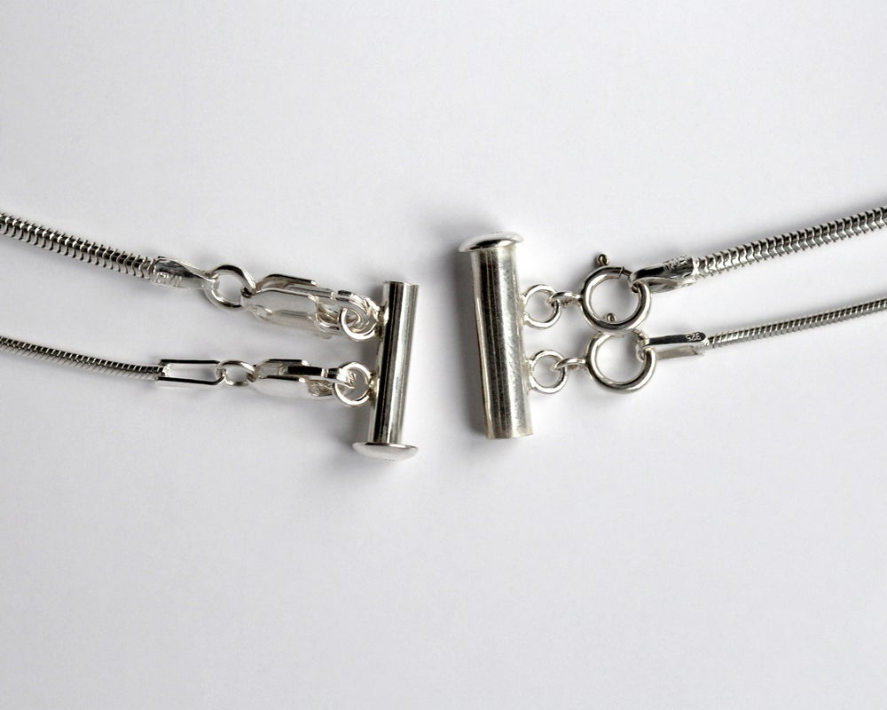 Multi Chain Sterling Silver Tube Slide Clasp