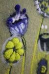 Flowers on green felt picture, wall art
