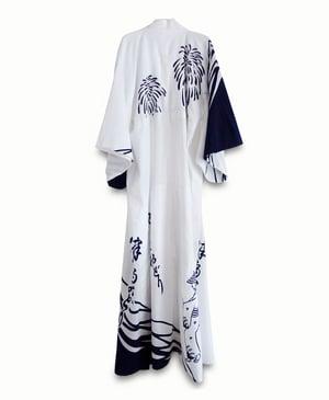 Image of Yugata - bomuldskimono med blå motiver