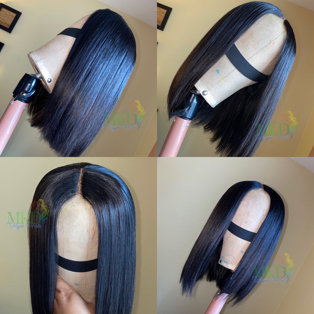 No Lace Virgin Bob Wig Straight