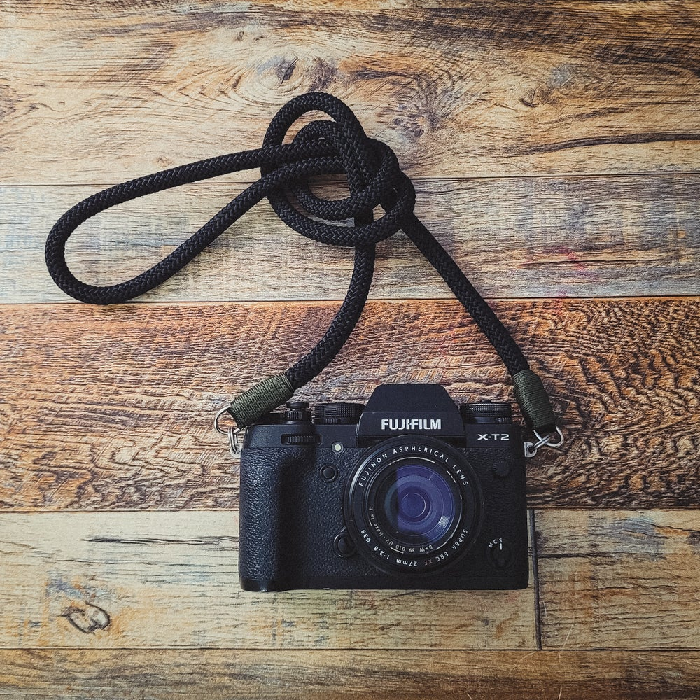 Image of Black rope shoulder strap w/ split ring attachments