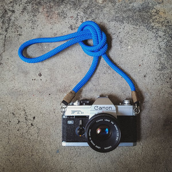Image of Blue rope shoulder strap w/ split ring attachments