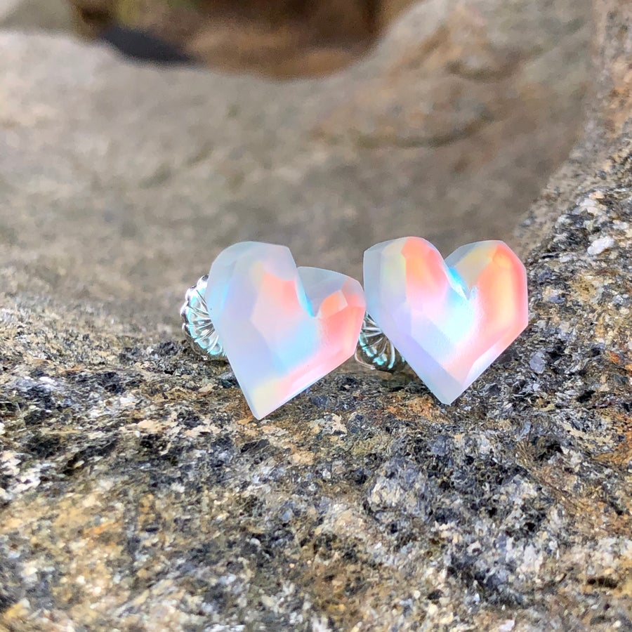 Image of Heart Lux Crystal Studs 🌈��