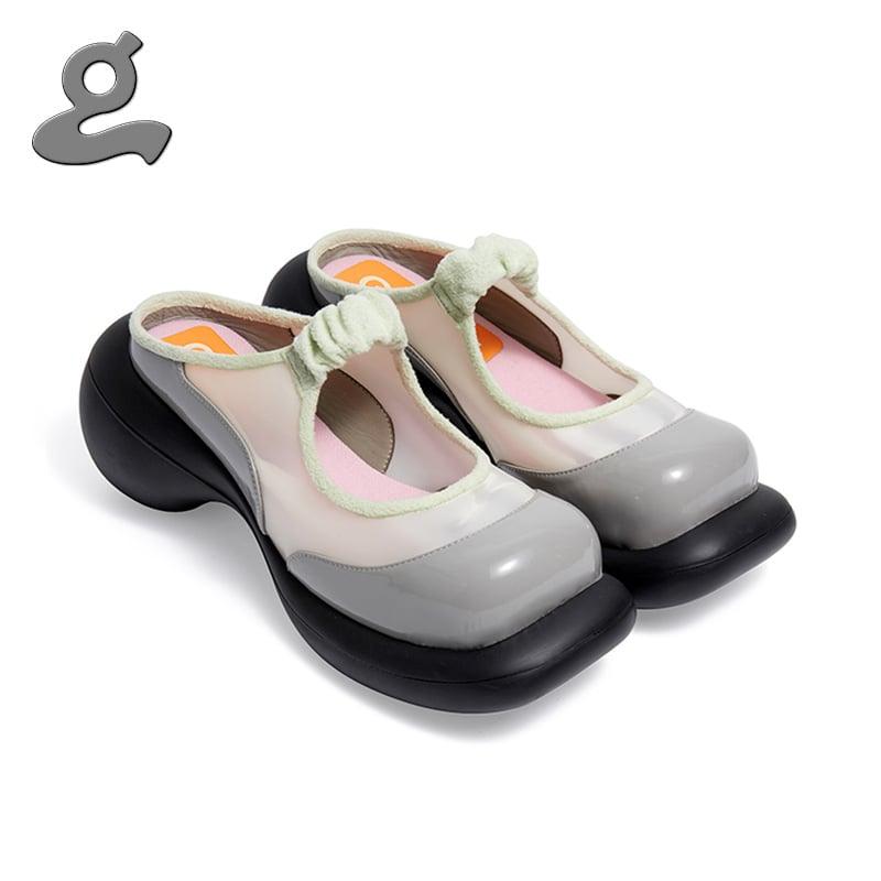 Image of Grey-green mosaic platform shoes