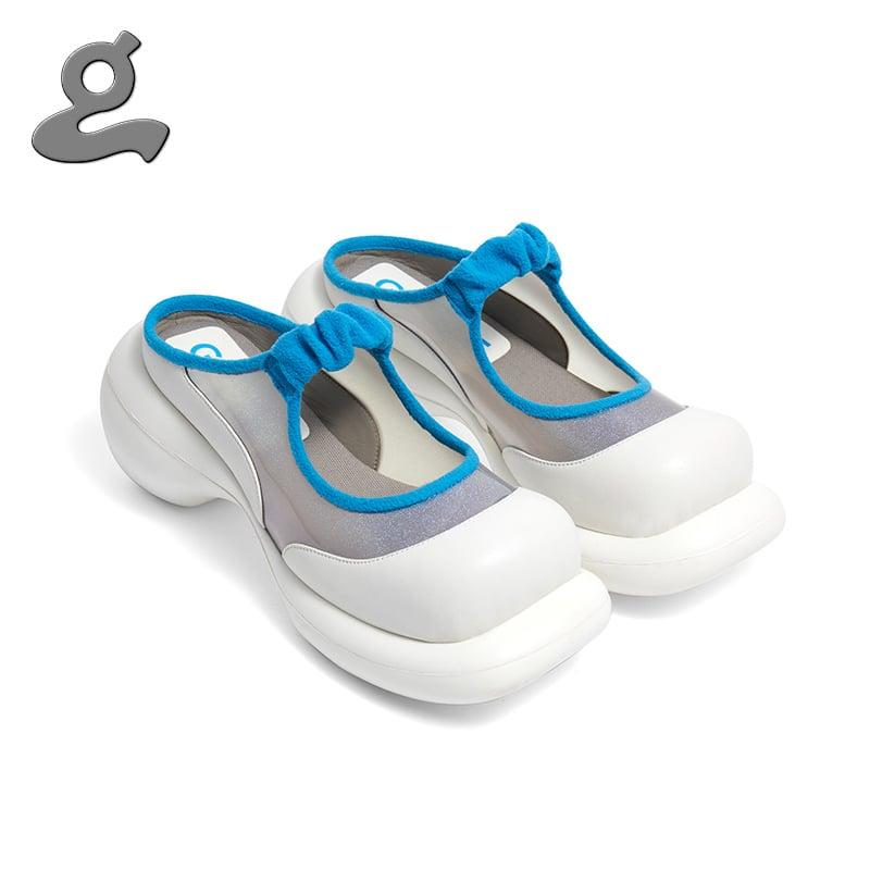 Image of Bule-white mosaic platform shoes