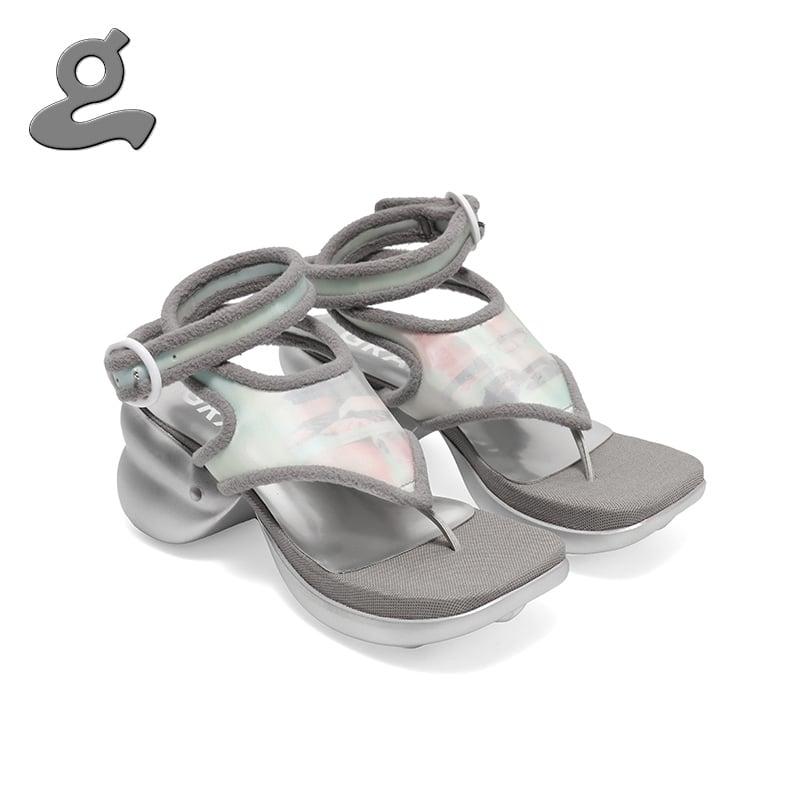Image of Grey printing flip flops