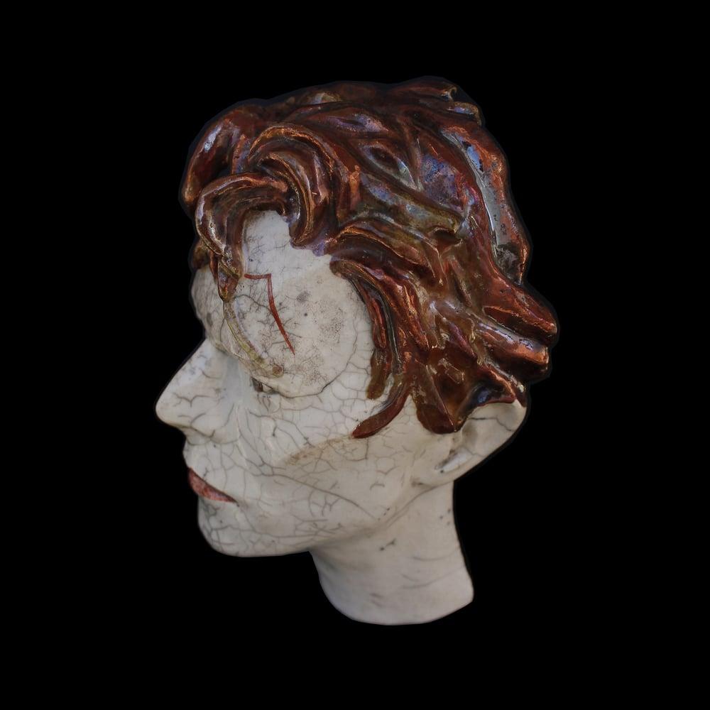 'It's No Game' Ceramic Face Sculpture (Unique Raku Piece)