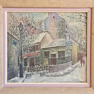 Ancien tableau huile sur toile Montmartre Le lapin Agile