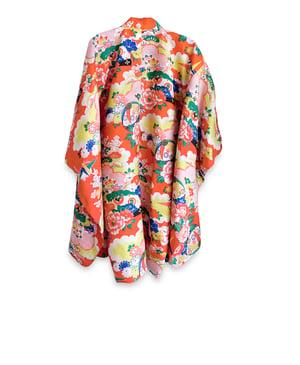Image of Kort silke kimono i orange silke med blomster mm.