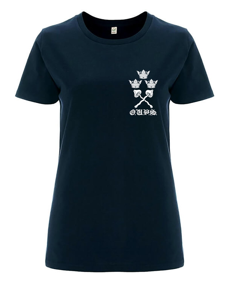 Image of Pre-order varsity women's classic jersey T-shirt navy (certified organic cotton by Earth Positive)