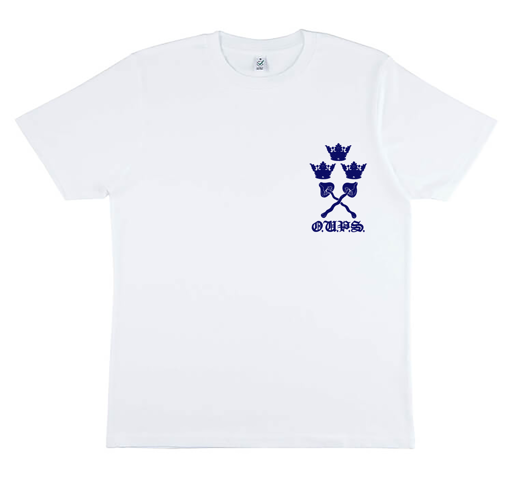 Image of Pre-order varsity unisex classic jersey t-shirt white (certified organic cotton by Earth Positive)