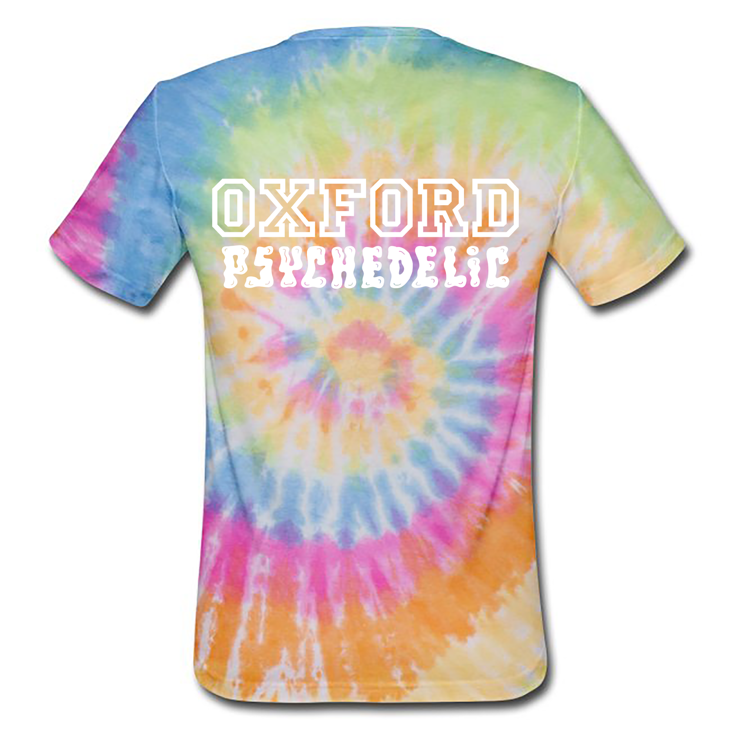 Image of Pre-order varsity unisex classic jersey t-shirt tie-dye (certified organic cotton by Earth Positive)