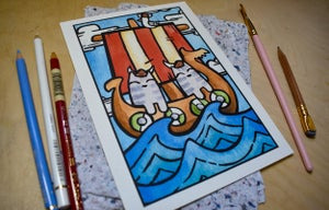 Image of Cats in Hats at Sea - Art Print