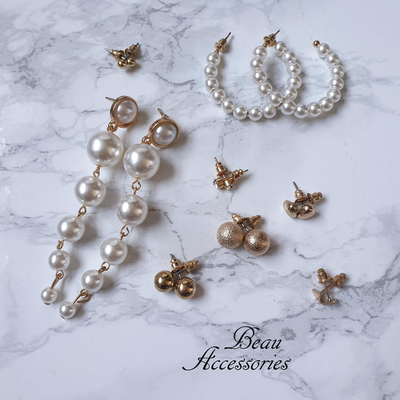 Image of Pearl Statement Earrings Set