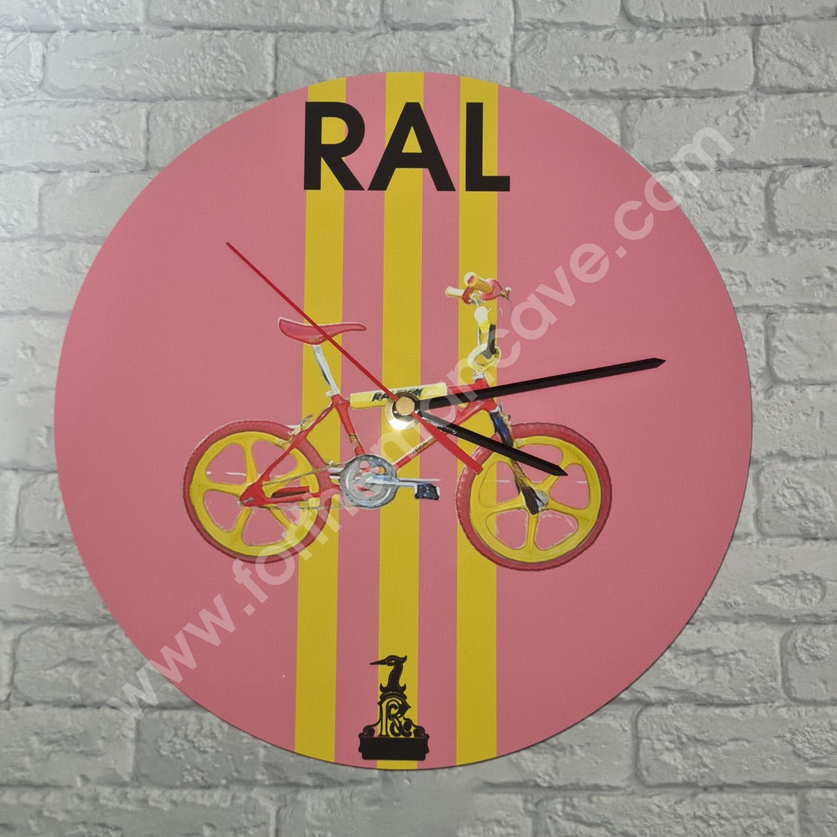 Image of WATERCOLOUR STYLE RALEIGH BMX BURNER RED / THREE STRIPE CLOCK (PLAIN AVAILABLE)