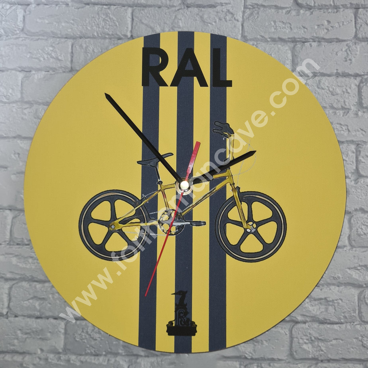Image of WATERCOLOUR STYLE RALEIGH BMX BURNER GOLD / THREE STRIPE CLOCK (PLAIN AVAILABLE)