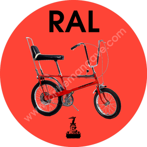 Image of WATERCOLOUR STYLE RALEIGH RALEIGH CHOPPER RED / THREE STRIPE CLOCK (PLAIN AVAILABLE)