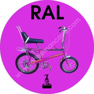 Image of WATERCOLOUR STYLE RALEIGH CHOPPER PURPLE / THREE STRIPE CLOCK (PLAIN AVAILABLE)