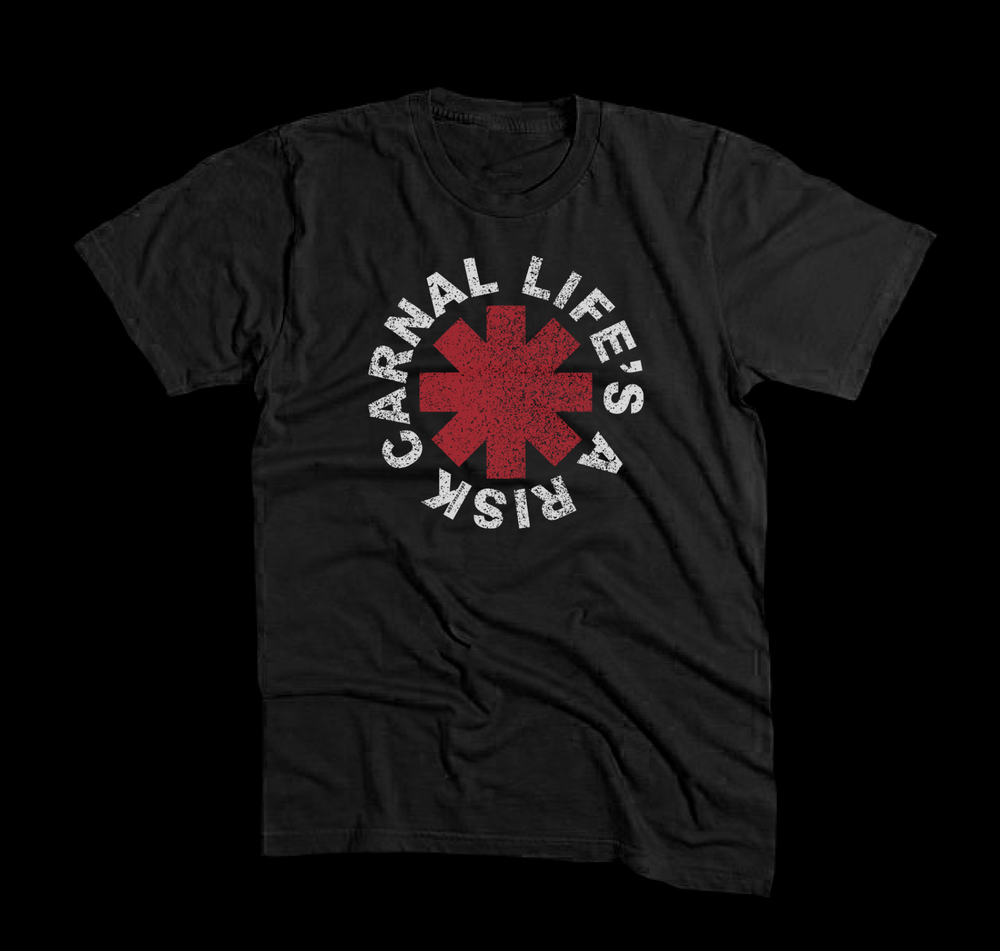 Image of RHCP LIFE'S A RISK BLACK TEE (FREE-SHIPPING ON THIS ITEM ONLY)
