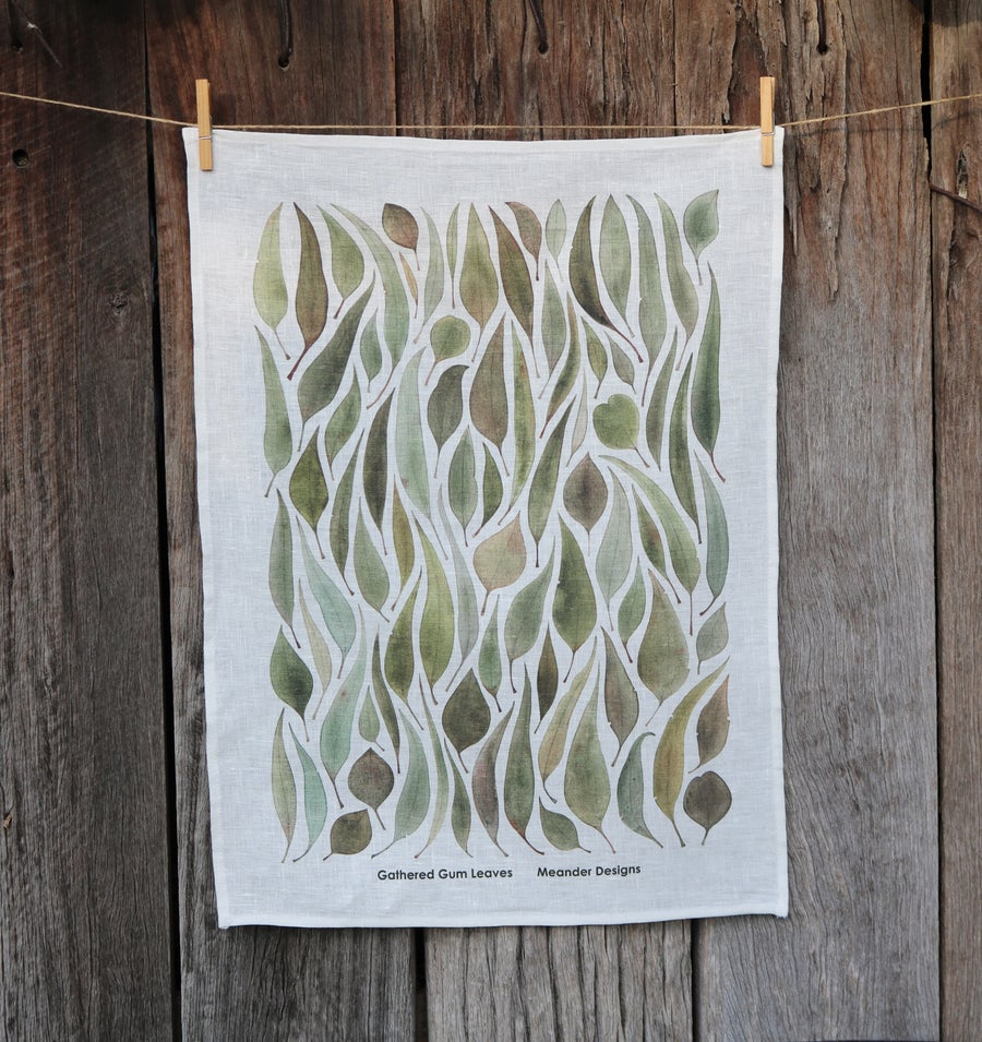 Image of *Preorder* 25% off RRP $35.00 Gathered Gum Leaves v.2 100% Linen Tea Towel