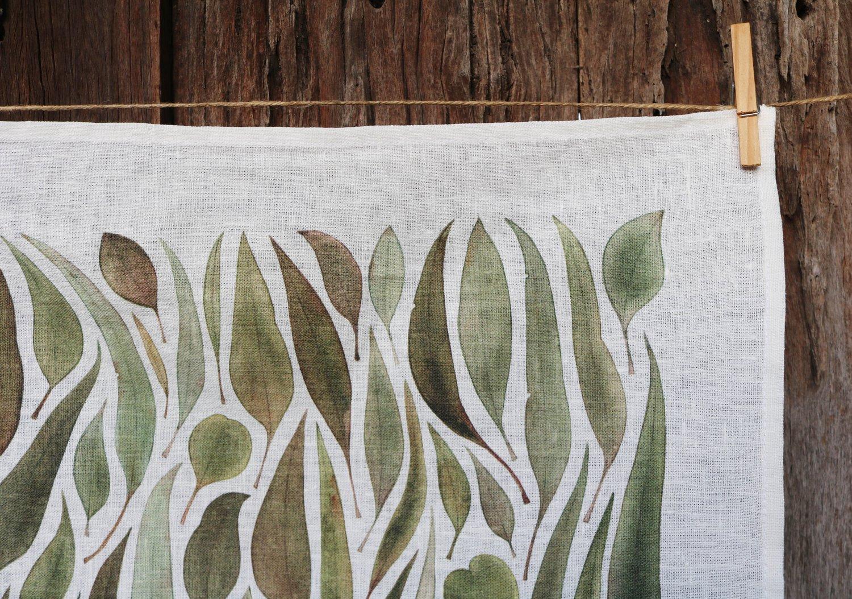 Image of 25% off RRP $35.00 Gathered Gum Leaves v.2 100% Linen Tea Towel