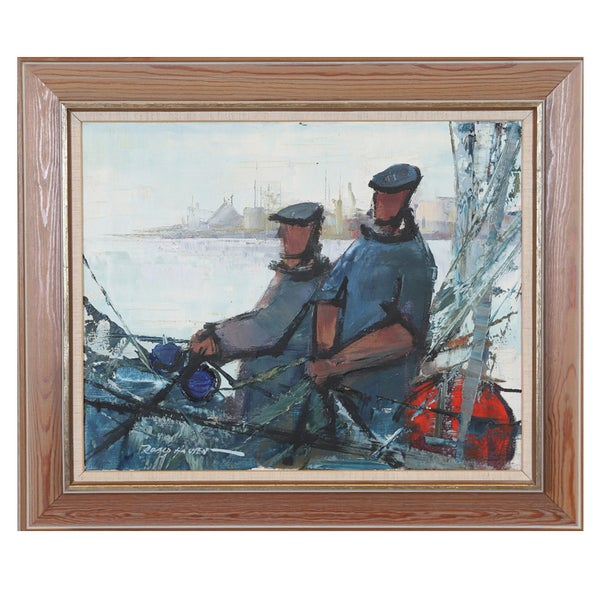 Image of Mid Century Swedish Painting, 'Fishermen,' ROALD HANSEN.