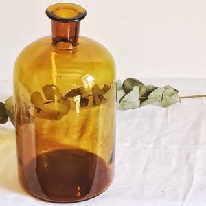 Ancien flacon d'apothicaire en verre ambré 35 cm