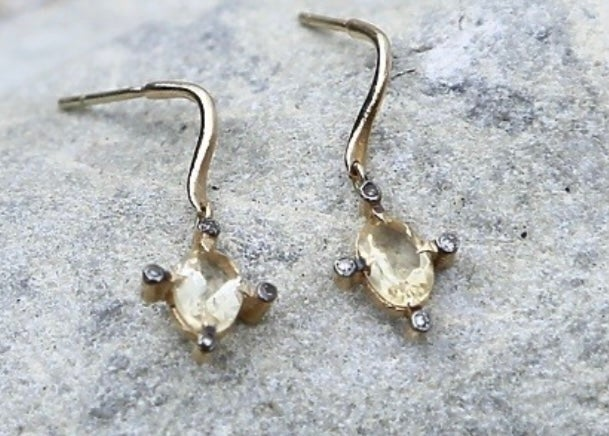 Image of Small Citrine and Diamond Earrings