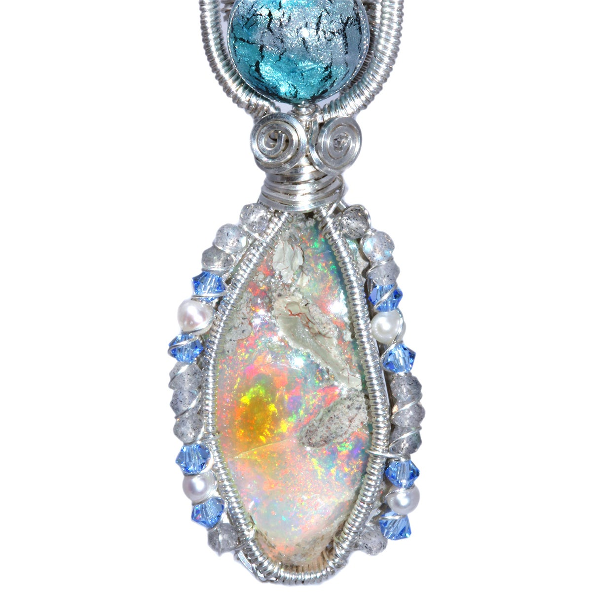 Ethiopian Opal Handmade Pendant with Labradorite and Venetian Glass Bead