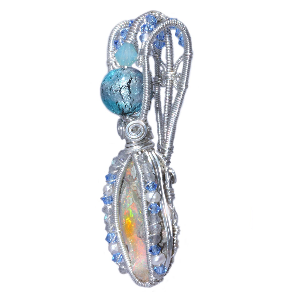 Ethiopian Opal Handmade Pendant with Labradorite and Venetian Glass Bead