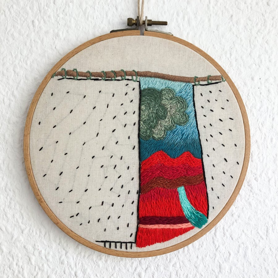 Image of Arriving soon to the land of good intentions - one of a kind hand embroidered wall hanging, 8'' hoop