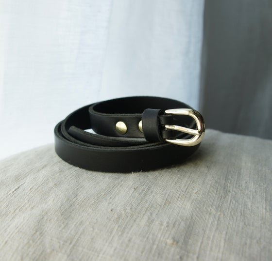 Image of Black Leather Belt- Thin