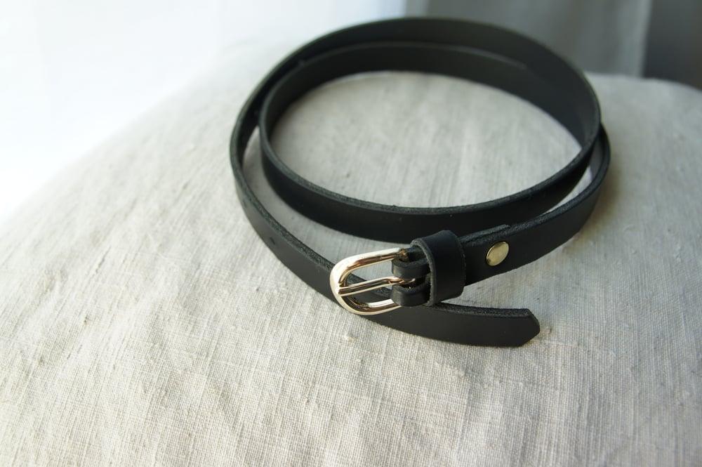 Image of Black Leather Belt- Thin