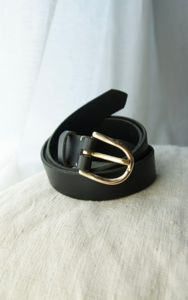 Image of Black Leather Belt- Round Buckle