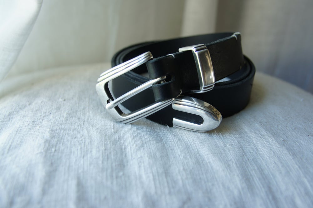 Image of Black Leather Belt- Western