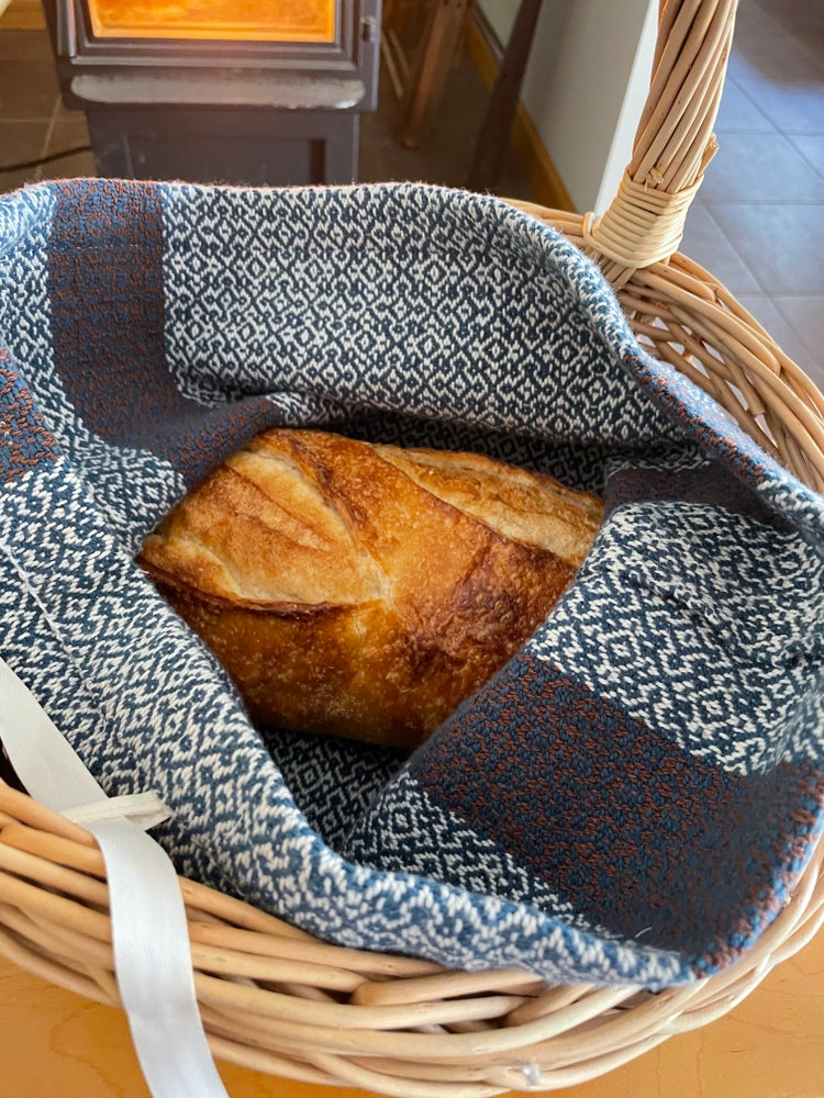 Image of Handwoven 100% Cotton Bread Bag (Teal)