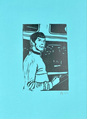 "Image of Live Long and Prosper! 8"" x 11'' Lino Print"