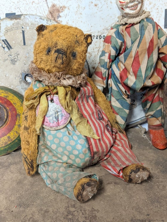 "Image of 9"" - Old TOY Teddy Bear Cub in romper by Whendi's Bears"