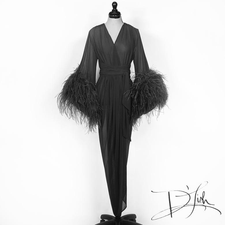 Image of Black Sheer Selene Ostrich Dressing Gown 10% OFF DISCOUNT CODE: FEMMEFATALE