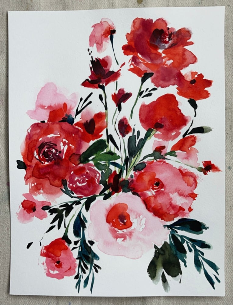 Image of Red Flower Bouquet - Original Watercolor Painting